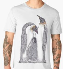 Zentangle Art Emperor Penguin Family Men's Premium T-Shirt