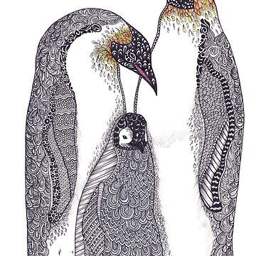 Zentangle Art Emperor Penguin Family by TemplemanArt