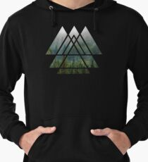 Sacred Geometry Triangles - Misty Forest Lightweight Hoodie