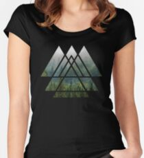 Sacred Geometry Triangles - Misty Forest Women's Fitted Scoop T-Shirt