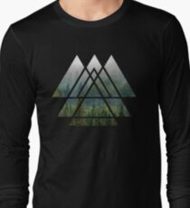 Sacred Geometry Triangles - Misty Forest Long Sleeve T-Shirt