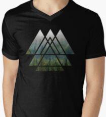 Sacred Geometry Triangles - Misty Forest Men's V-Neck T-Shirt