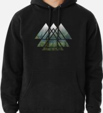 Sacred Geometry Triangles - Misty Forest Pullover Hoodie