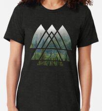 Camiseta de tejido mixto Triángulos de geometría sagrada - Misty Forest