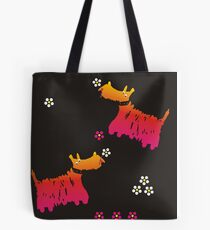 A seamless pattern of Scotch terrier stretching color Tote Bag