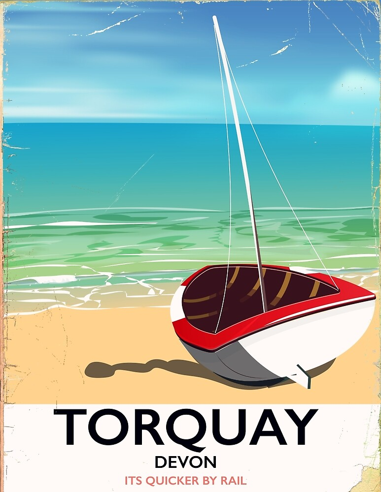 Torquay Devon vintage seaside travel poster by Nicholas Greenaway