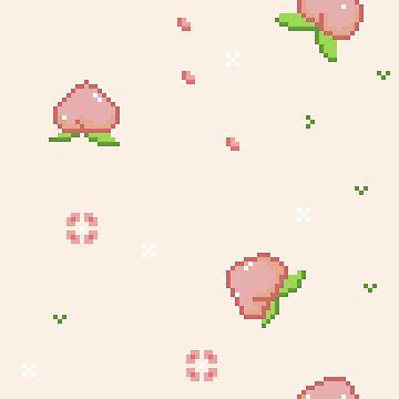 Pixel Art - Peach & Spring by Lysaena