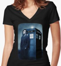 doctor smith tee Tardis Hoodie / T-shirt Women's Fitted V-Neck T-Shirt