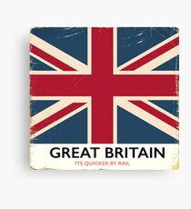 """Great Britain """"Its quicker by rail"""" vintage poster Canvas Print"""