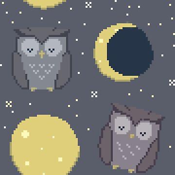 Pixel Art - Sleeping Owl by Lysaena