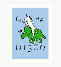 To The Disco (Unicorn Riding Triceratops) Art Print
