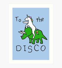 To The Disco (Unicorn Riding Triceratops) Art Print