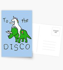 To The Disco (Unicorn Riding Triceratops) Postcards