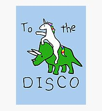 To The Disco (Unicorn Riding Triceratops) Photographic Print