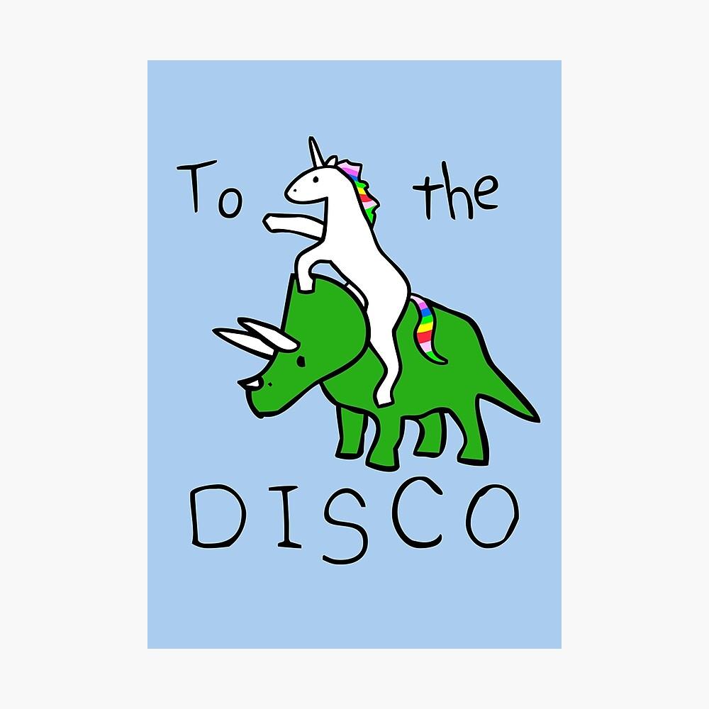 To The Disco (Unicorn Riding Triceratops) Photographic Print