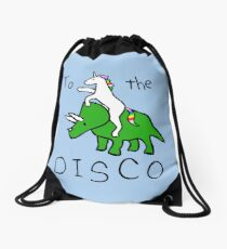 To The Disco (Unicorn Riding Triceratops) Drawstring Bag