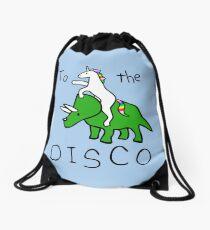 Zur Disco (Unicorn Riding Triceratops) Turnbeutel