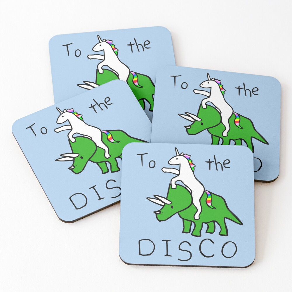 To The Disco (Unicorn Riding Triceratops) Coasters (Set of 4)
