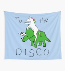 To The Disco (Unicorn Riding Triceratops) Tapestry