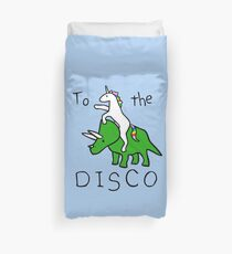 To The Disco (Unicorn Riding Triceratops) Duvet Cover