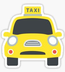 Cartoon Yellow Taxi Cab (Front) Sticker