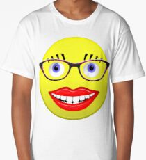 Smiley Female With Glasses and a Big Smile Long T-Shirt