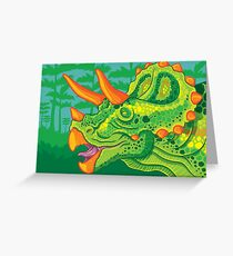 Triceratops (lime) Greeting Card