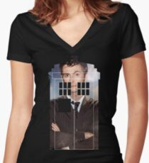 The Doctor Tee - Tardis T-Shirt Women's Fitted V-Neck T-Shirt