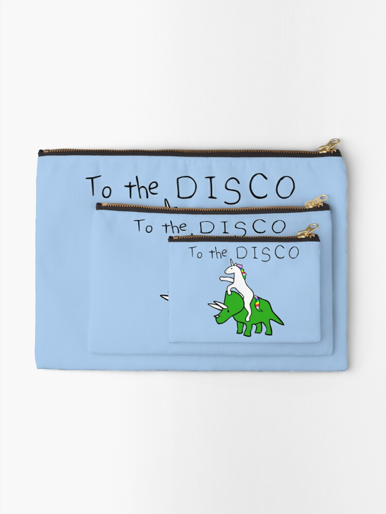 Alternate view of To The Disco (Unicorn Riding Triceratops) Zipper Pouch