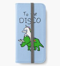 Zur Disco (Unicorn Riding Triceratops) iPhone Flip-Case/Hülle/Skin
