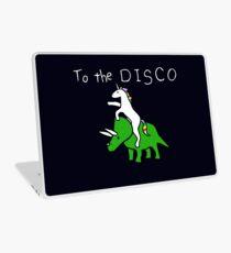 To The Disco (white text) Unicorn Riding Triceratops Laptop Skin