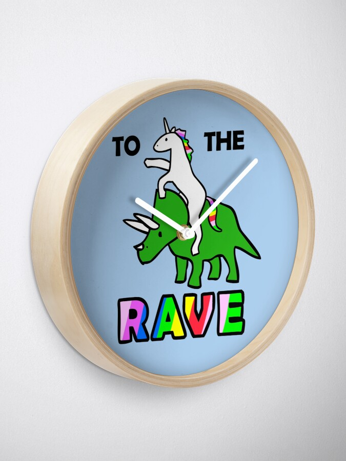 Alternate view of To The Rave! (Unicorn Riding Triceratops) Clock