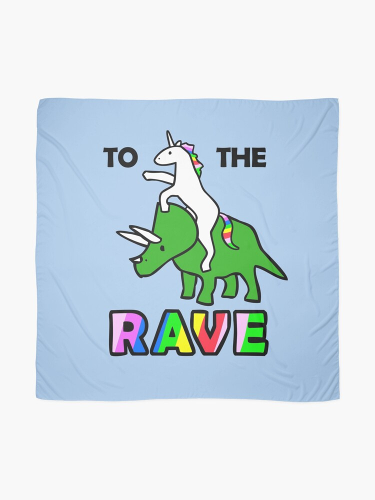 Alternate view of To The Rave! (Unicorn Riding Triceratops) Scarf