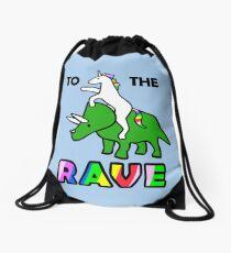 To The Rave! (Unicorn Riding Triceratops) Drawstring Bag
