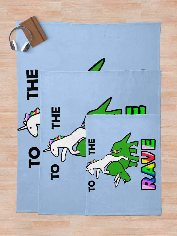 Alternate view of To The Rave! (Unicorn Riding Triceratops) Throw Blanket