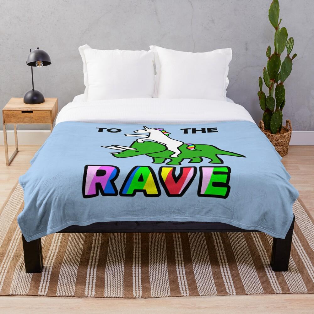 To The Rave! (Unicorn Riding Triceratops) Throw Blanket