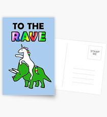 To The Rave! (Unicorn Riding Triceratops) Postcards