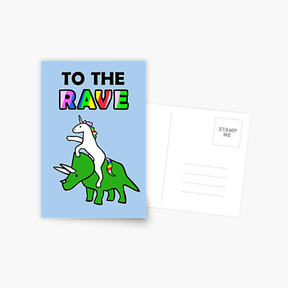 To The Rave! (Unicorn Riding Triceratops) Postcard