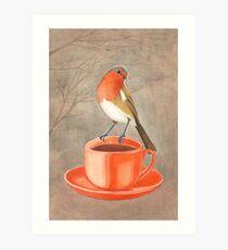 coffee loving robin bird Art Print