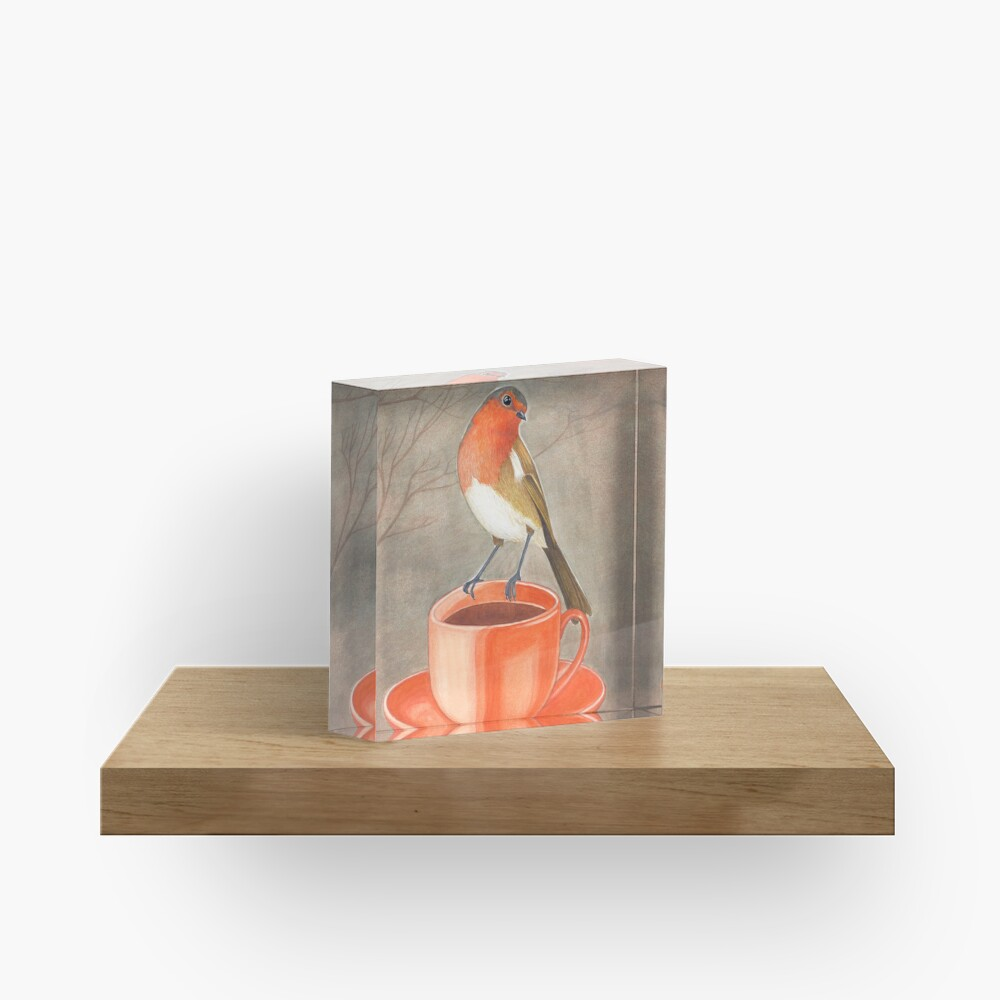 coffee loving robin bird Acrylic Block