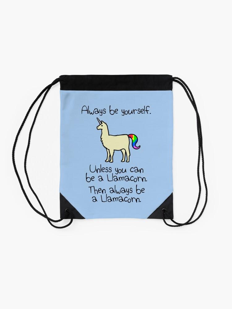 Alternative Ansicht von Sei immer du selbst, es sei denn du kannst ein Llamacorn sein Turnbeutel