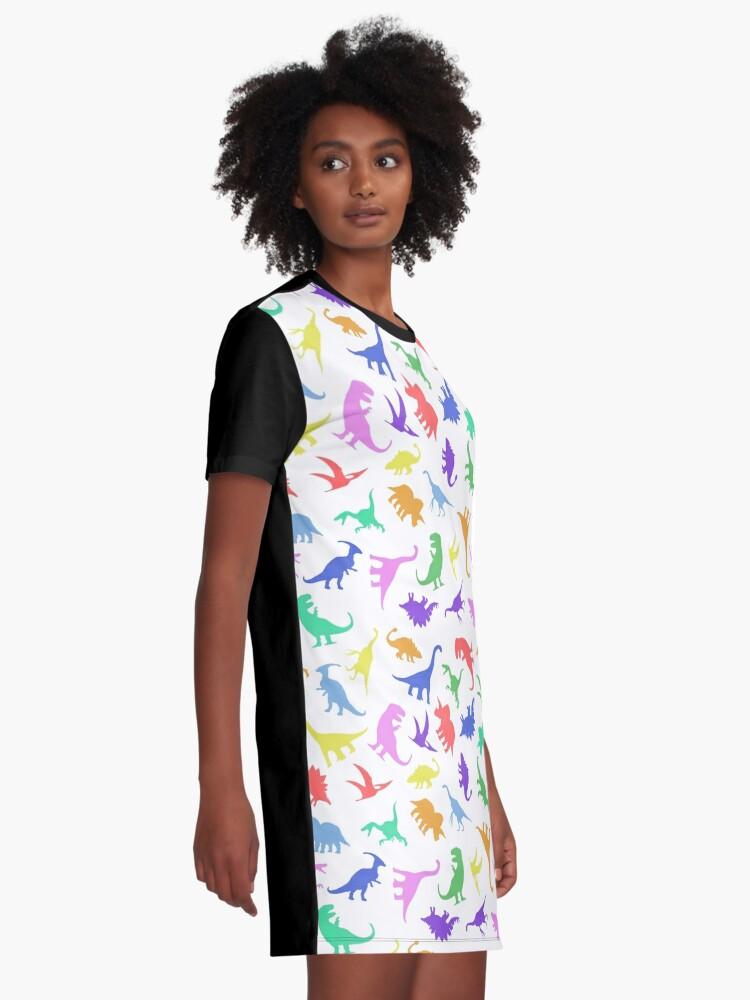 Alternative Ansicht von Spaß-Dinosaurier-Muster T-Shirt Kleid