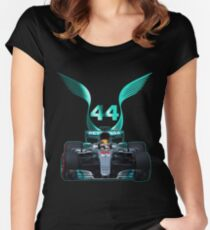 Lewis Hamilton and 2017 f1 car Women's Fitted Scoop T-Shirt