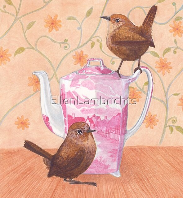 friendly wrens on a teapot by EllenLambrichts