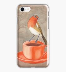 coffee loving robin bird iPhone Case/Skin