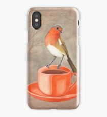 coffee loving robin bird iPhone Case