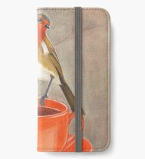 Kaffee liebender Rotkehlchenvogel iPhone Flip-Case/Hülle/Skin
