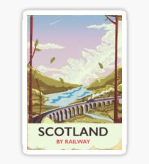 Scotland Vintage locomotive travel poster Sticker