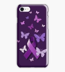 Purple Awareness Ribbon with Butterflies  iPhone Case/Skin