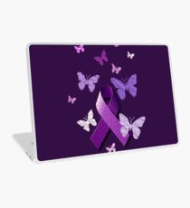 Purple Awareness Ribbon with Butterflies  Laptop Skin